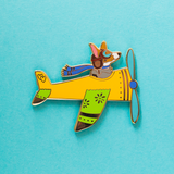 Airplane Pilot Corgi in Yellow Plane Enamel Lapel Pin
