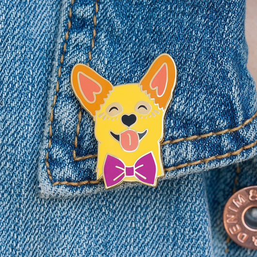 Smiling Corgi Lapel Pin