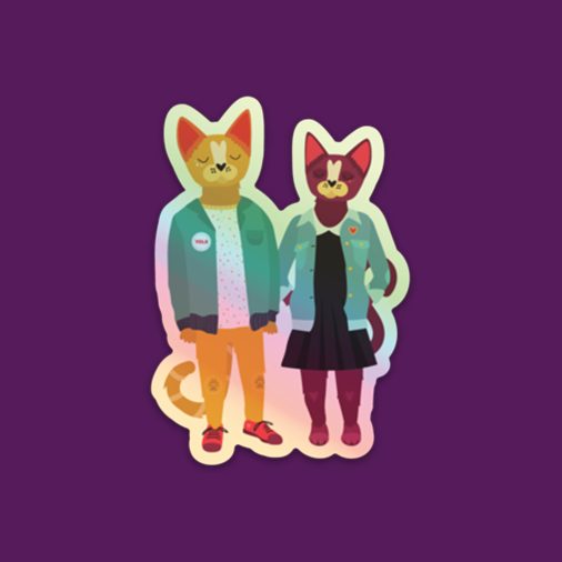 Hipster Cats Holographic Die-Cut Vinyl Sticker