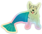 Mermaid Husky Holographic Die-Cut Vinyl Sticker