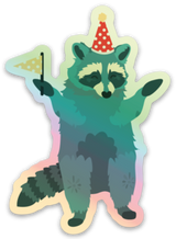 Green Party Raccoon Holographic Die-Cut Vinyl Sticker