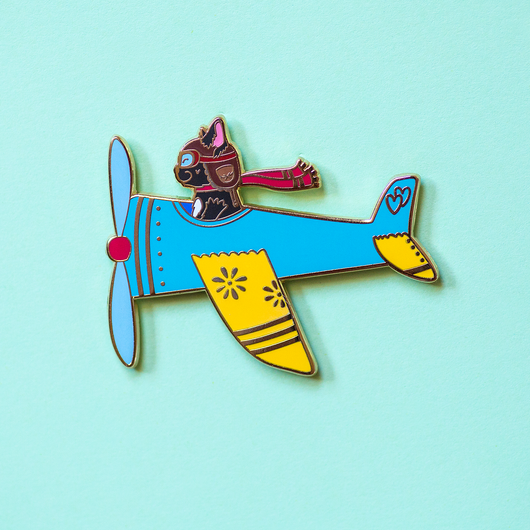 Airplane Pilot Cat in Blue Plane Enamel Lapel Pin