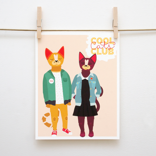 Cool Cats Handmade 8x10 Print