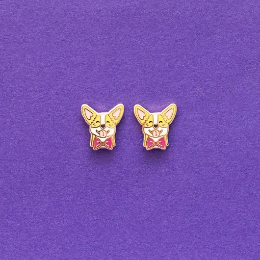 Corgi Enamel Earrings