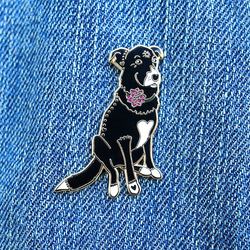 Dahlia the Black Labrador Retriever Border Collie Mix Enamel Pin