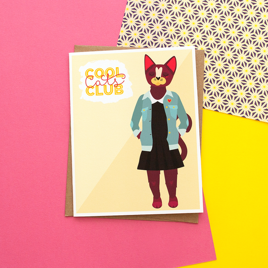 Cool Cats Club (Female) Handmade Greeting Card