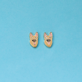 German Shepherd Enamel Earrings