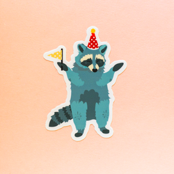 Green Party Raccoon Die-Cut Vinyl Sticker