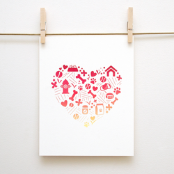 Puppy Love Heart Pattern Handmade 8x10 Print