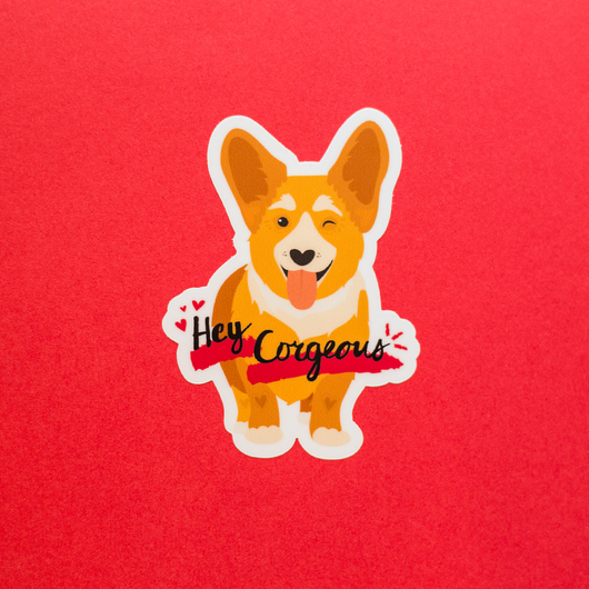 Hey Corgeous Die-Cut Vinyl Sticker