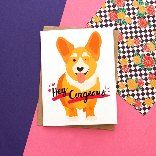 Hey Corgeous Handmade Greeting Card