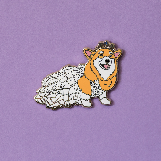 HazelBear the Corgi Wedding Enamel Pin