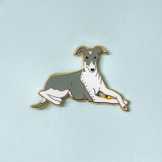 Italian Greyhound Enamel Lapel Pin Collaboration