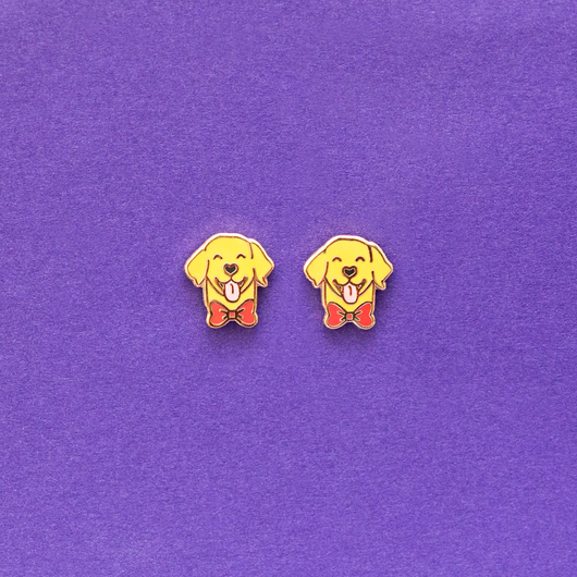 Labrador Retriever Enamel Earrings