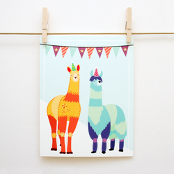 Party Llamas Handmade 8x10 Print