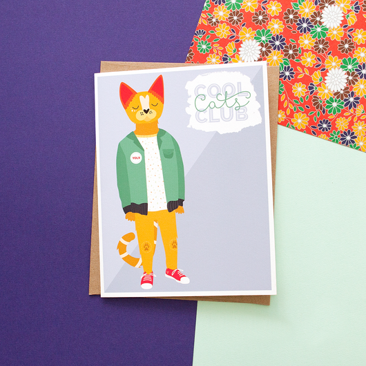Cool Cat's Club (Male) Handmade Greeting Card