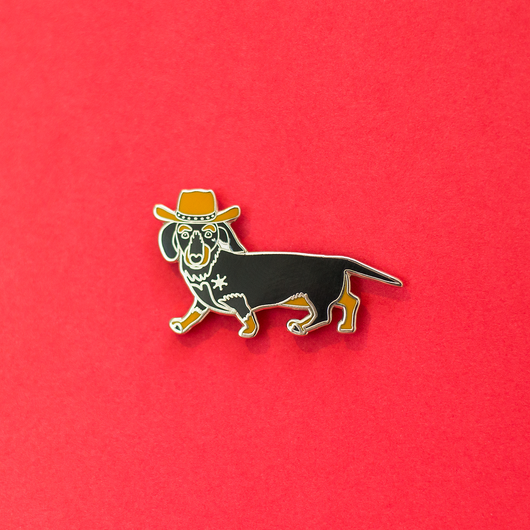 Black & Tan Dachshund Cowboy Enamel Lapel Pin. Cut Animal Pet Dog Gifts Accessories Flair. Get a Long Little Doggie