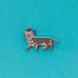 Dark Brown Dachshund Cowboy Enamel Lapel Pin. Get a Long Little Doggie