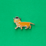 Light Brown Dachshund Cowboy Enamel Lapel Pin. Get a Long Little Doggie
