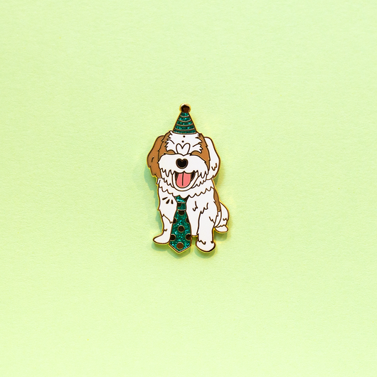 Party Pup White Shih Tzu Mix Blind Senior Dog Enamel Lapel Pin Cute Animal Pet Gift Accessories Flair