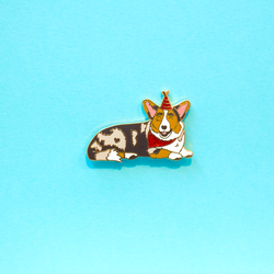 Party Pup Malygos Cardigan Welsh Corgi Enamel Lapel Pin Cute Animal Pet Gifts Accessories Flair