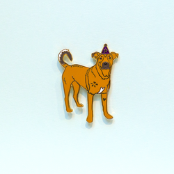 Party Pup Mutt Brown Lab Mix Enamel Lapel Pin Cute Curious Animal Pet Dog Gift Accessories Flair