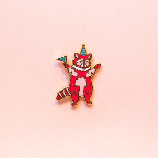 Pink Party Raccoon Enamel Lapel Pin Cute Animal Gift Accessories Flair