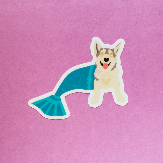 Mermaid Husky Die-Cut Vinyl Sticker
