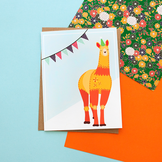 Orange Llama Party Animal Handmade Celebration Greeting Card