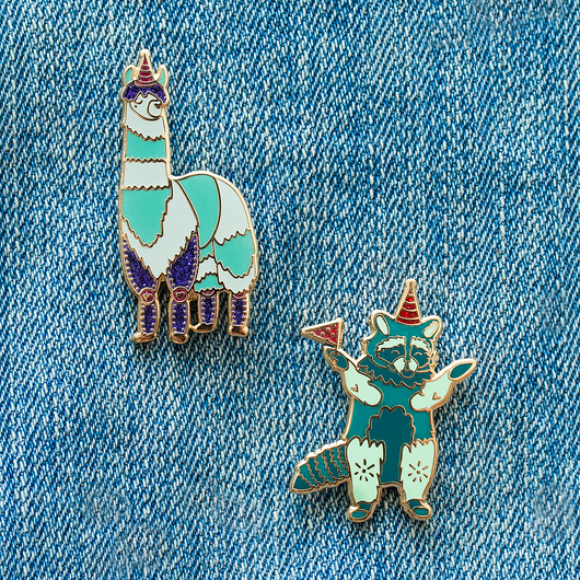 Party Pack! Raccoon & Llama Enamel Pin
