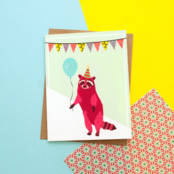 Pink Raccoon Party Animal Handmade Celebration Greeting Card