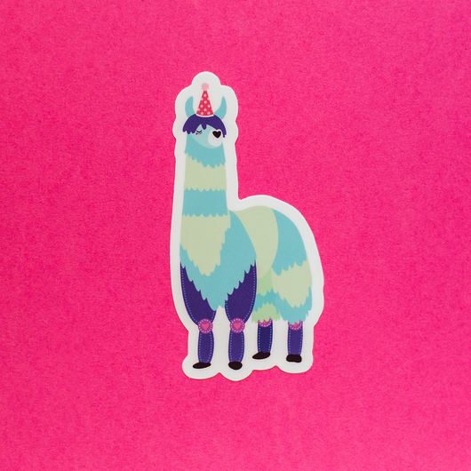 Party Llama Die-Cut Vinyl Sticker