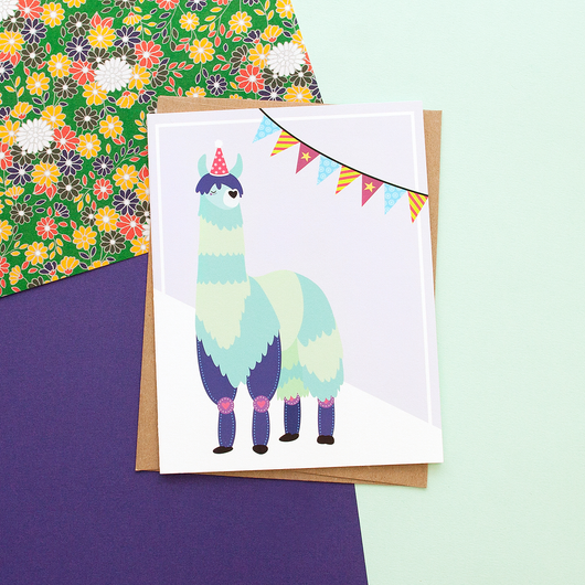 Blue Llama Party Animal Handmade Celebration Greeting Card