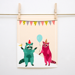 Party Raccoons Handmade 8x10 Print