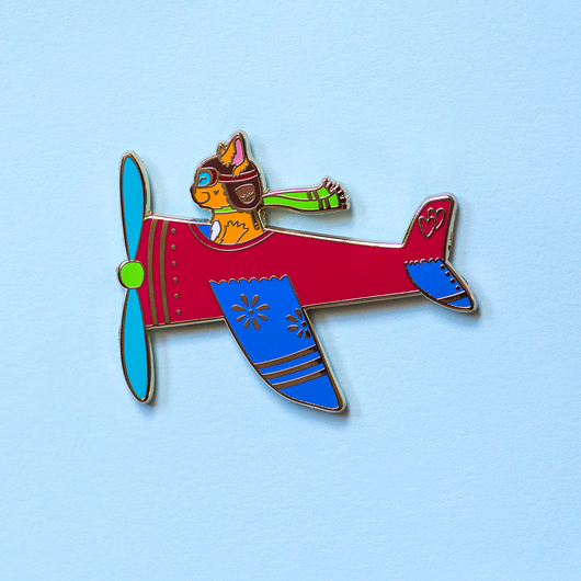 Airplane Pilot Cat in Red Plane Enamel Lapel Pin