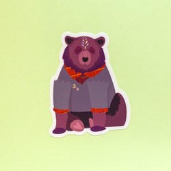 Hipster Bear Die-Cut Vinyl Sticker