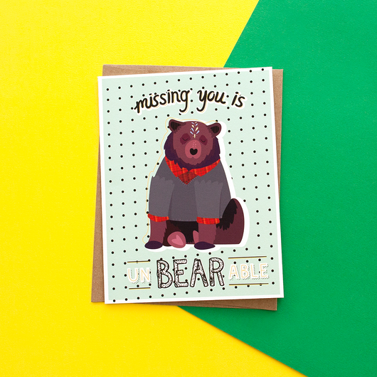 Missing You Is UnBEARable Handmade Greeting Card