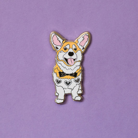 Wally the Welsh Corgi Wedding Enamel Pin