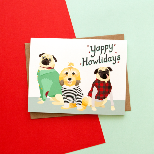 Yappy Howlidays Handmade Holiday Greeting Card