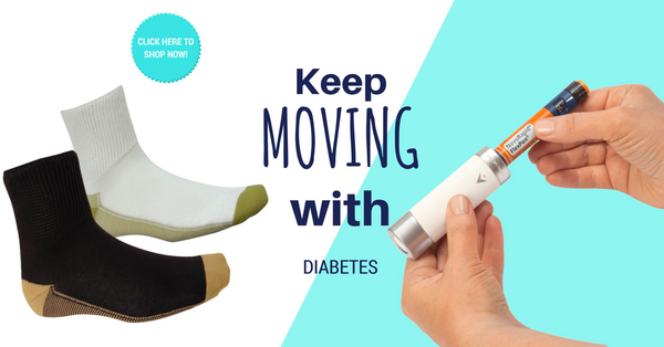 Keep moving with diabetes. Diabetic Glucology socks and VIVICAP1 temperature shield