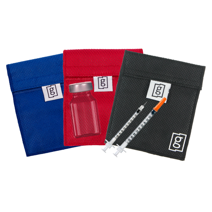Glucology  Red Black Blue Small Insulin Pouch