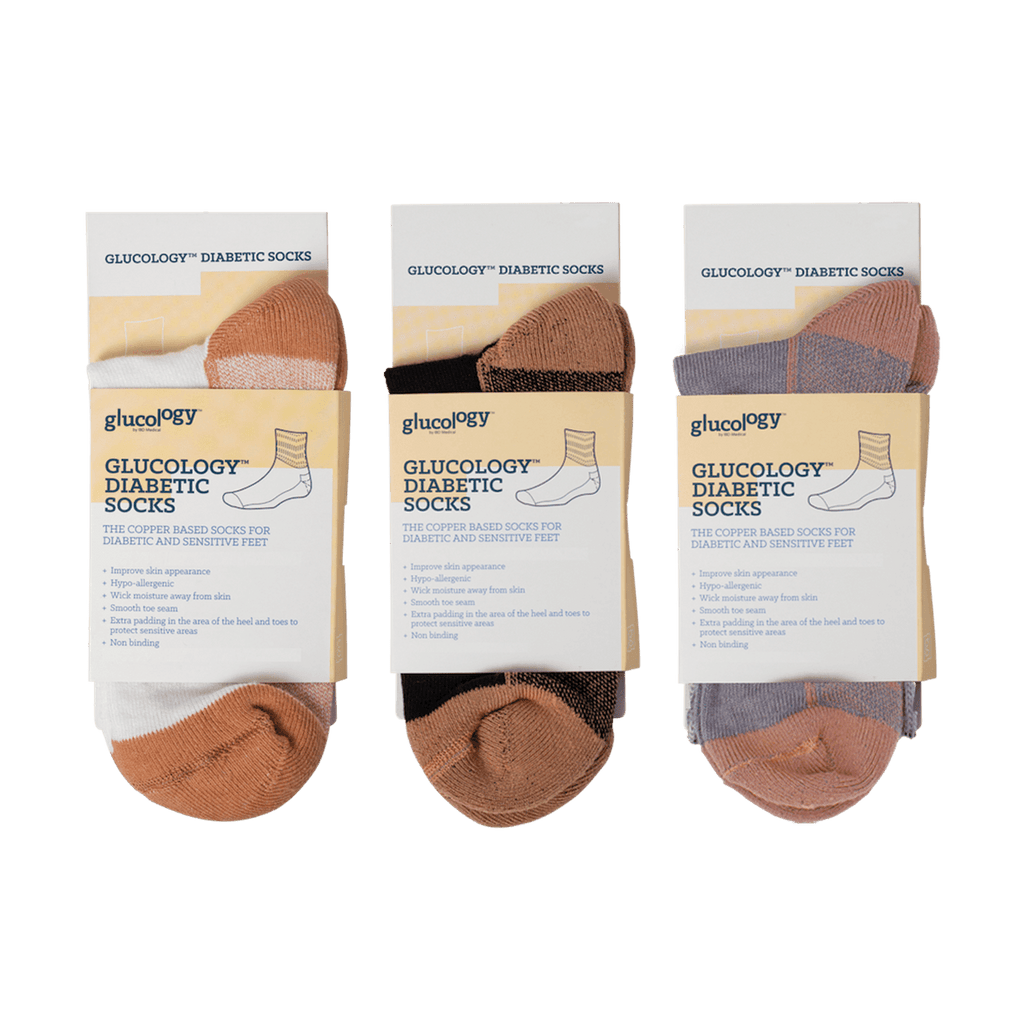 Glucology®Multi Pack 3x Diabetic Copper Based Classic Socks | Black, White and Grey