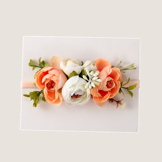 Gorgeous Peach And White Pomponella Roses Headband