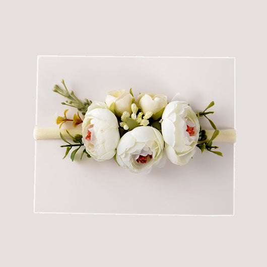 Gorgeous White Pomponella Roses Headband