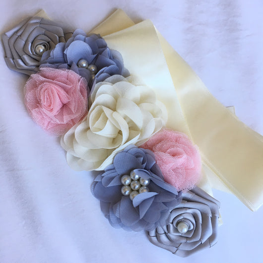 Multi-Coloured Floral Hairband With Satin Sash Belt