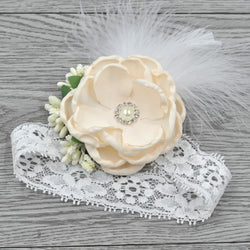 Vintage Ivory Flower Headband With Feather