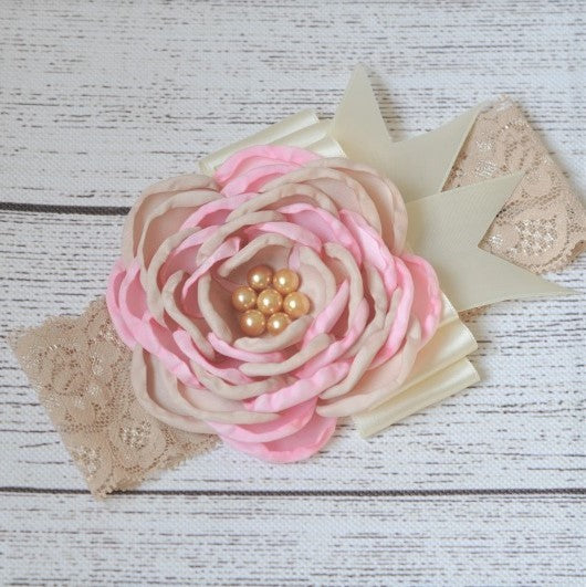 Pretty Pink And Tan Flower Headband