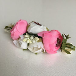Gorgeous Pink And White Pomponella Roses Headband