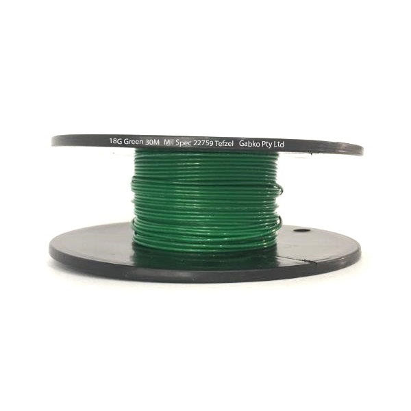 Tefzel Mil spec 22759 Wire | 18 Gauge-GREEN-30M Roll | 18G-5RL GN | Price inc GST: