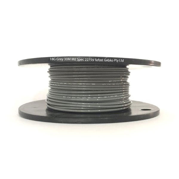 Tefzel Mil spec 22759 Wire | 18 Gauge-GREY-30M Roll | 18G-8RL GY | Price inc GST: